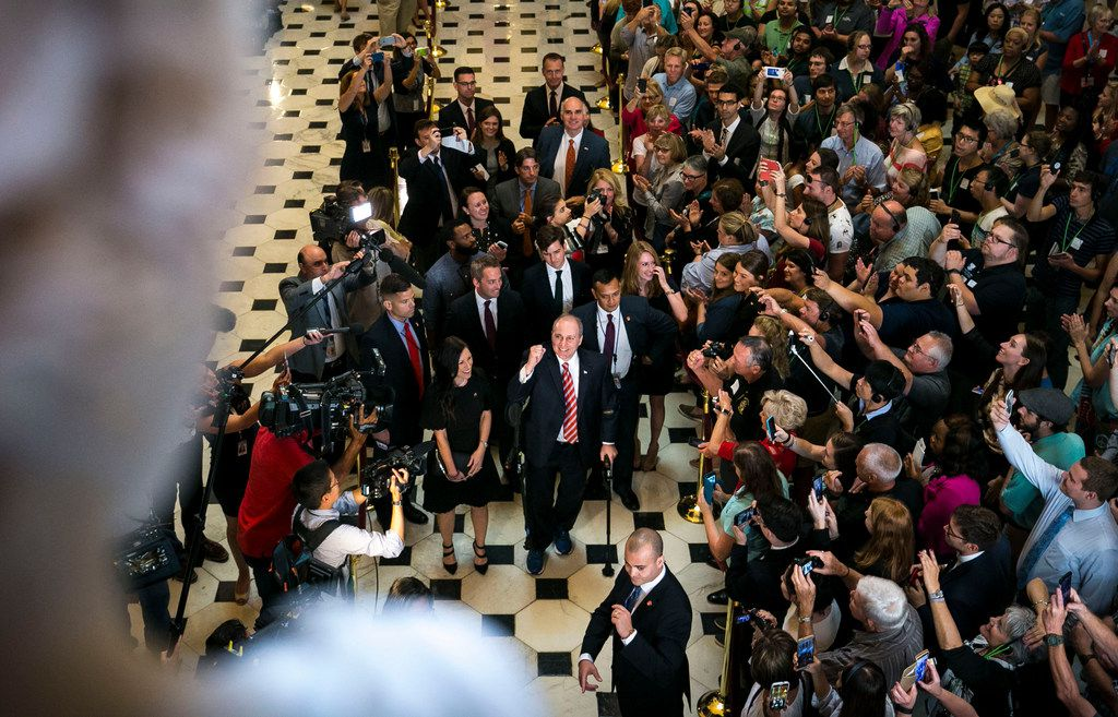 Rep. Steve Scalise, R-La., is met by a crowd of visitors as he returns to the U.S. Capitol for his first day back in Washington, Sept. 28, 2017. Scalise was shot during a congressional baseball practice on June 14.