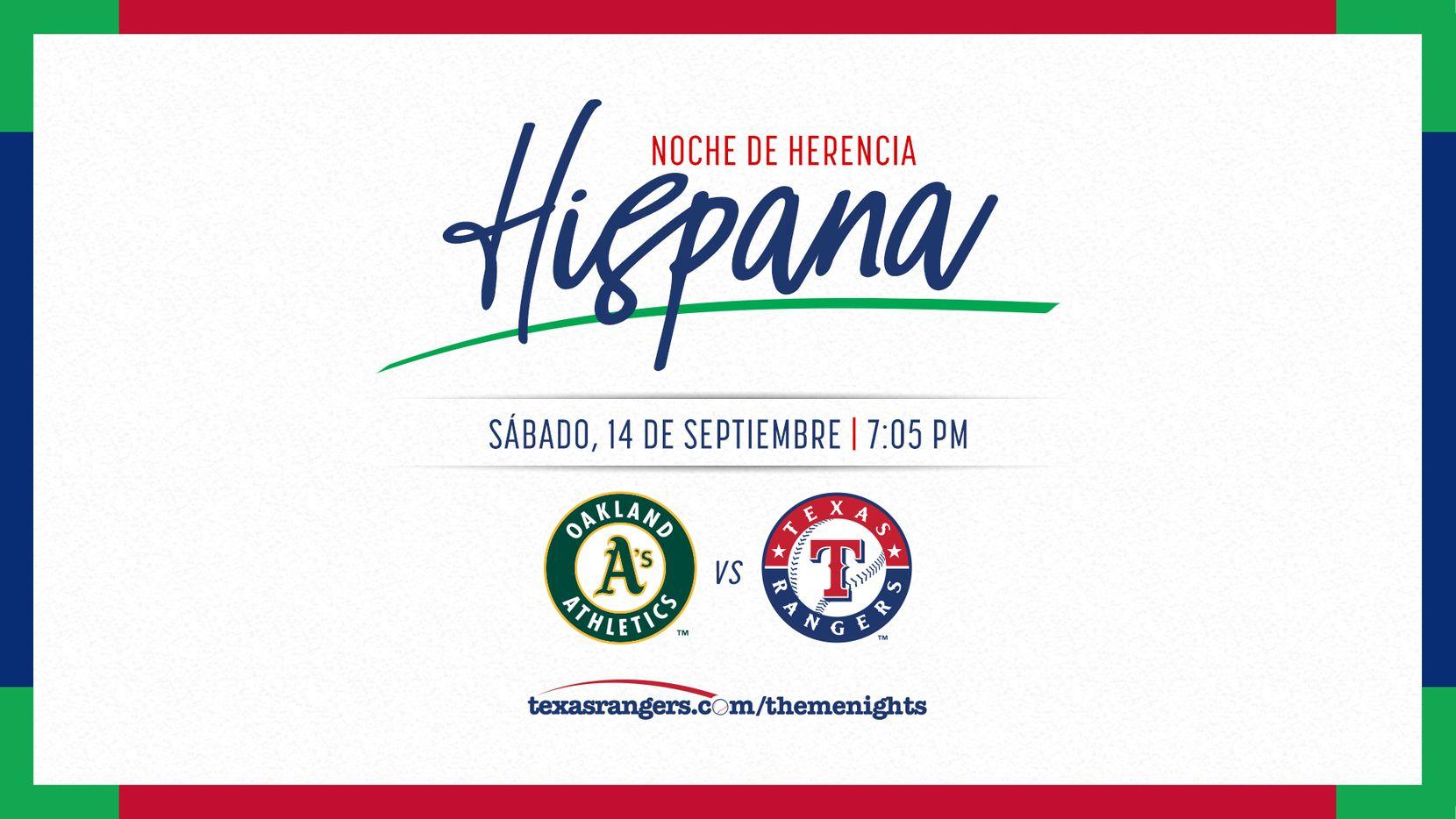 Hispanic Heritage Night de Texas Rangers es el sábado 14 de septiembre