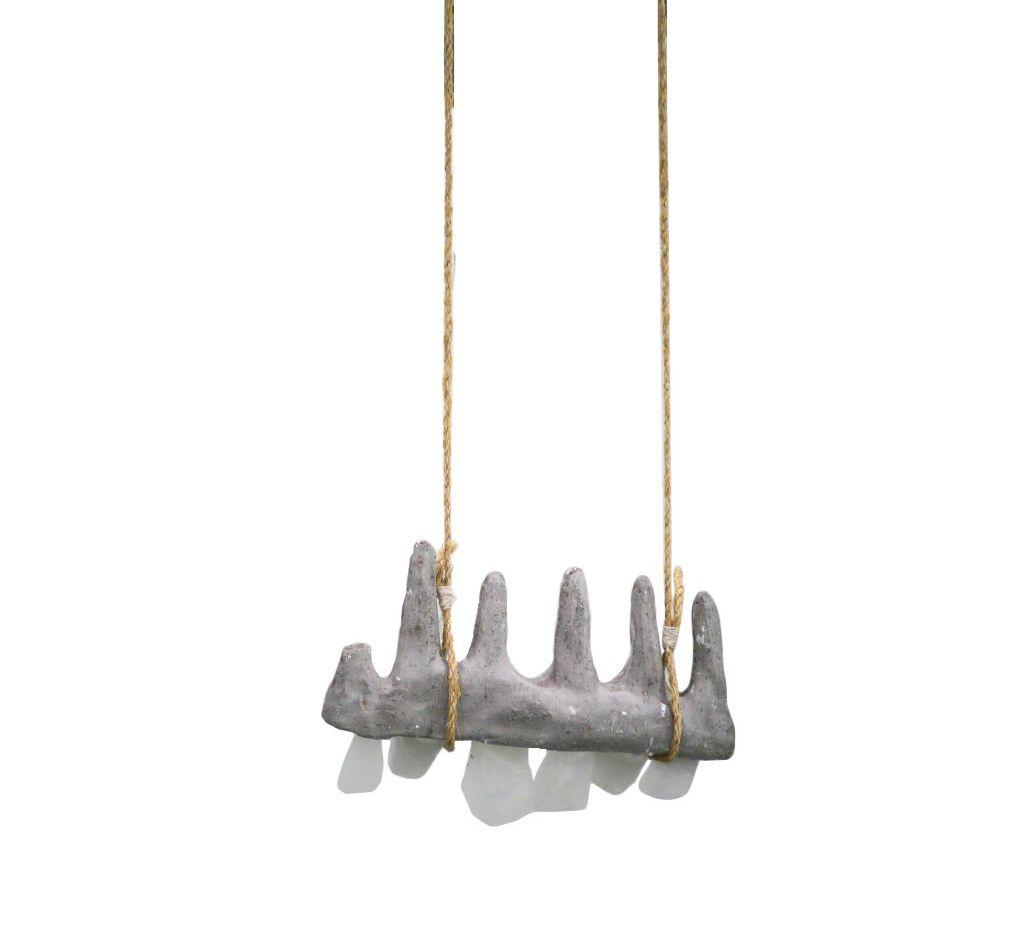 "Melkorka Korkimon, Toothbrush, 2017 Concrete, Wax and Rope, 15"" x 7"" x 5"""