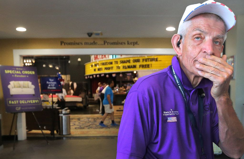 """Jim """"Mattress Mack"""" McIngvale, locally famous for philanthropy and his commercials for his business, Gallery Furniture, appears a bit weary as he works at multiple tasks at the store in north Houston on Sept. 11."""