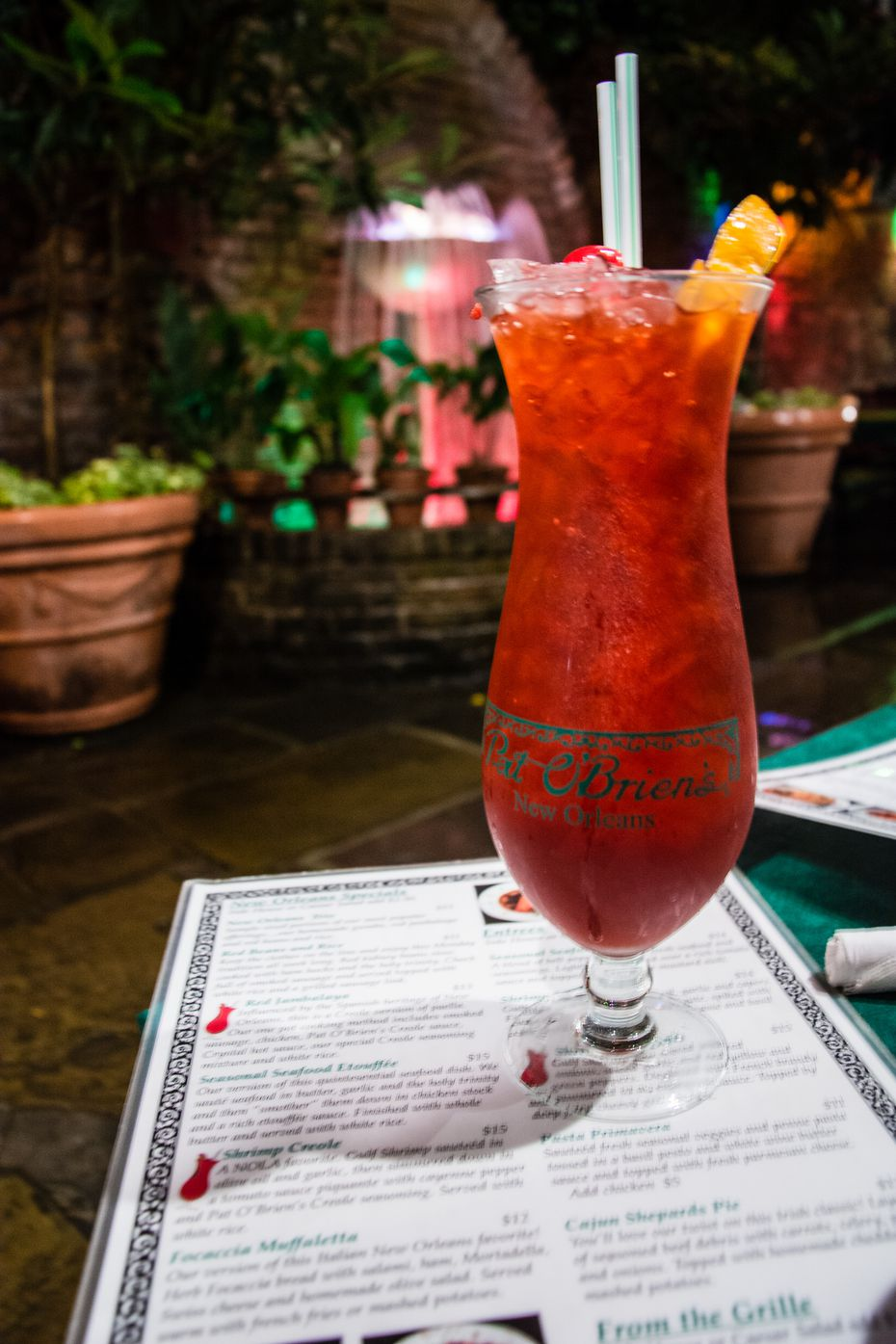 The Hurricane is said to be have been created at Pat O'Brien's Bar in New Orleans.