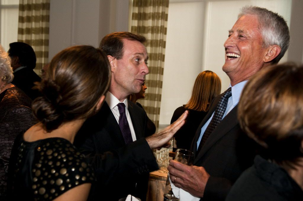 Former members of the board of directors of A. H. Belo Corporation, (left) Dave Morgan and (right) Don Williams were among the people gathered at the Belo Mansion in Dallas to celebrate the 125th Anniversary of the Dallas Morning News on Oct. 1, 2010.