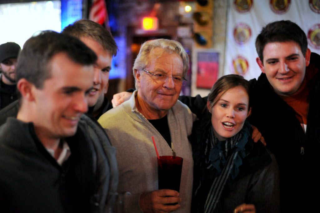 Television host Jerry Springer takes photos with fans before singing Elvis songs for The King's 80th Birthday at McKinney Avenue Tavern in Dallas, TX on January 8, 2014. (Alexandra Olivia/ Special Contributor)