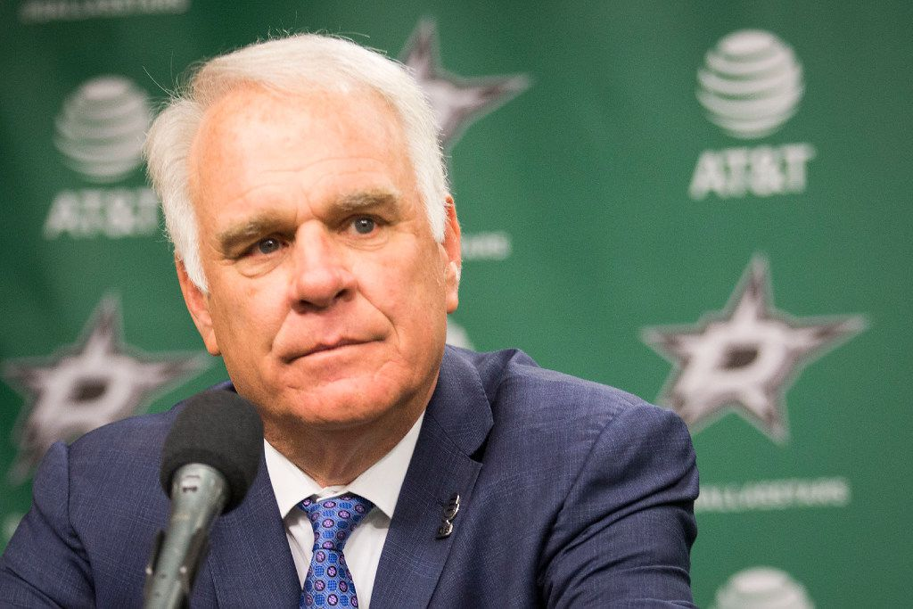 Team president Jim Lites addresses the media as Ken Hitchcock is introduced as the Dallas Stars new coach during a press conference at the American Airlines Center on Thursday, April 13, 2017, in Dallas.
