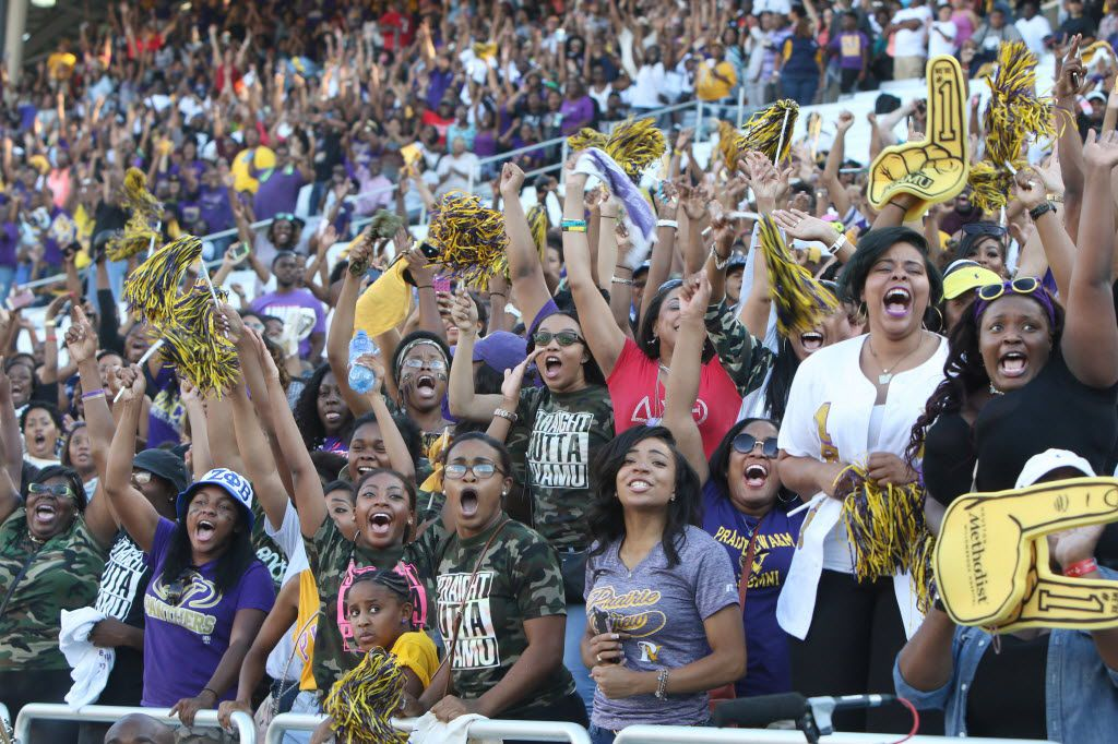 A section of Prairie View A&M fans react to a touchdown by their team late in the second quarter  in 2015.