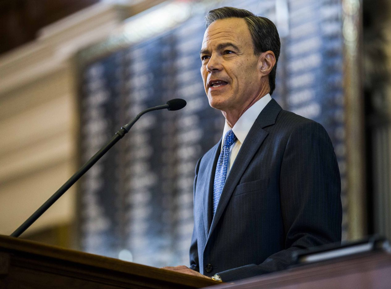 Texas State Rep. and Speaker of the House Joe Straus speaks during the first day of the 85th Texas Legislative Session on Tuesday at the Texas State Capitol in Austin.