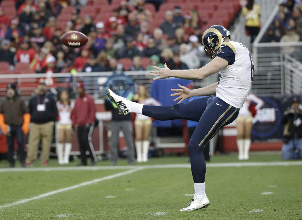 St. Louis Rams punter Johnny Hekker (6) against the San Francisco 49ers during an NFL football game in Santa Clara, Calif., Sunday, Jan. 3, 2016. (AP Photo/Marcio Jose Sanchez)