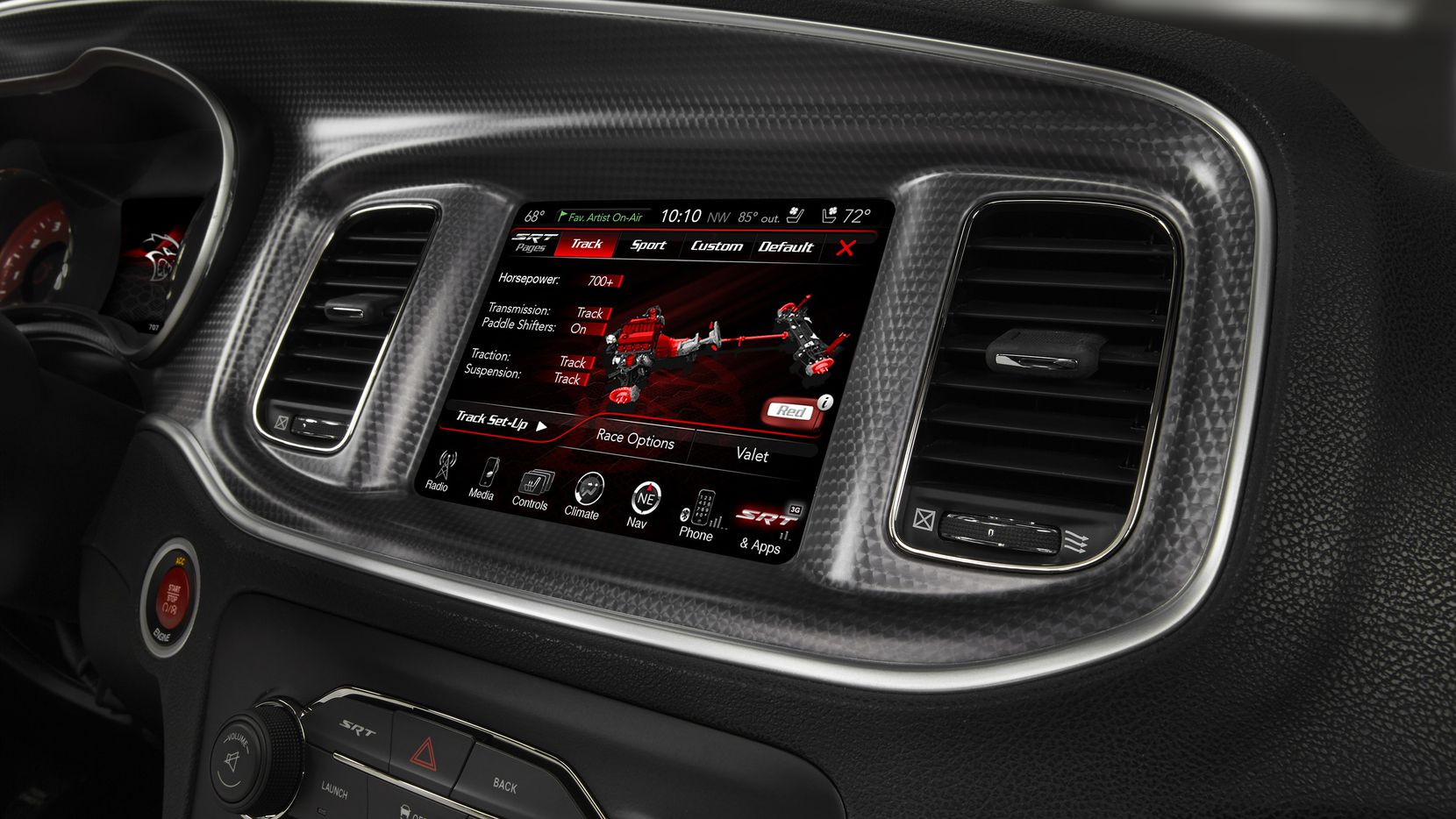 """The 2015 Dodge Charger Hellcat can be adjusted — or perhaps hacked into — via its """"performance pages"""" at its UConnect screen."""