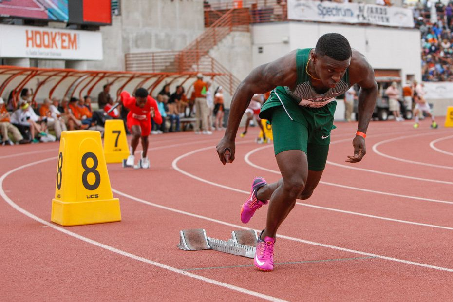 Waxahachie's Jalen Reagor, right, leaves the starting blocks during the boys 4x200 meter relay during the 2017 Texas Relays at Mike A. Myers Stadium at the University of Texas at Austin, Texas on April 1, 2017. DeSoto placed fifth with a time of 1:26.24. (Julia Robinson/Special Contributor)