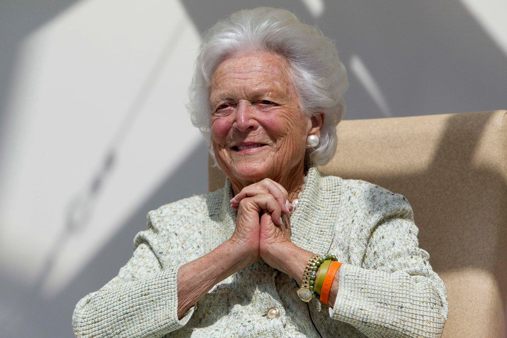 "FILE - In a Thursday, Aug. 22, 2013, file photo, former first lady Barbara Bush listens to a patient's question during a visit to the Barbara Bush Children's Hospital at Maine Medical Center in Portland, Maine. A family spokesman said Sunday, April 15, 2018, that the former first lady Barbara Bush is in ""failing health"" and won't seek additional medical treatment. (AP Photo/Robert F. Bukaty, File)"