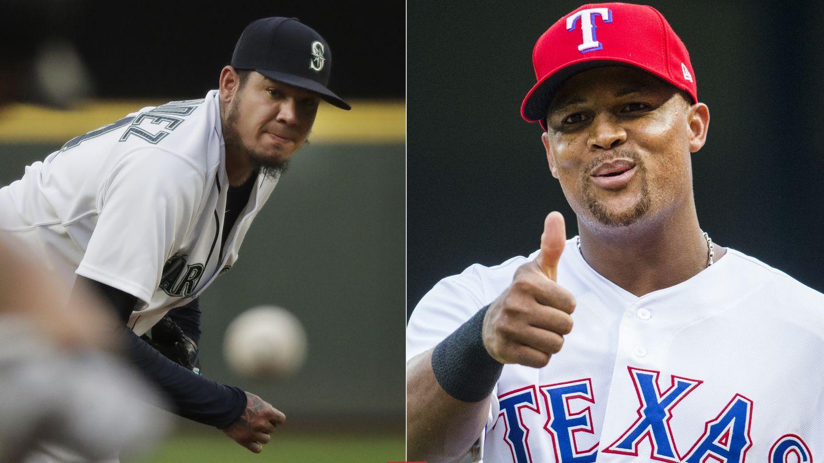 File photos: (Left) Seattle Mariners starting pitcher Felix Hernandez (AP Photo/Ted S. Warren) / (Right) Texas Rangers third baseman Adrian Beltre (Ashley Landis/The Dallas Morning News)