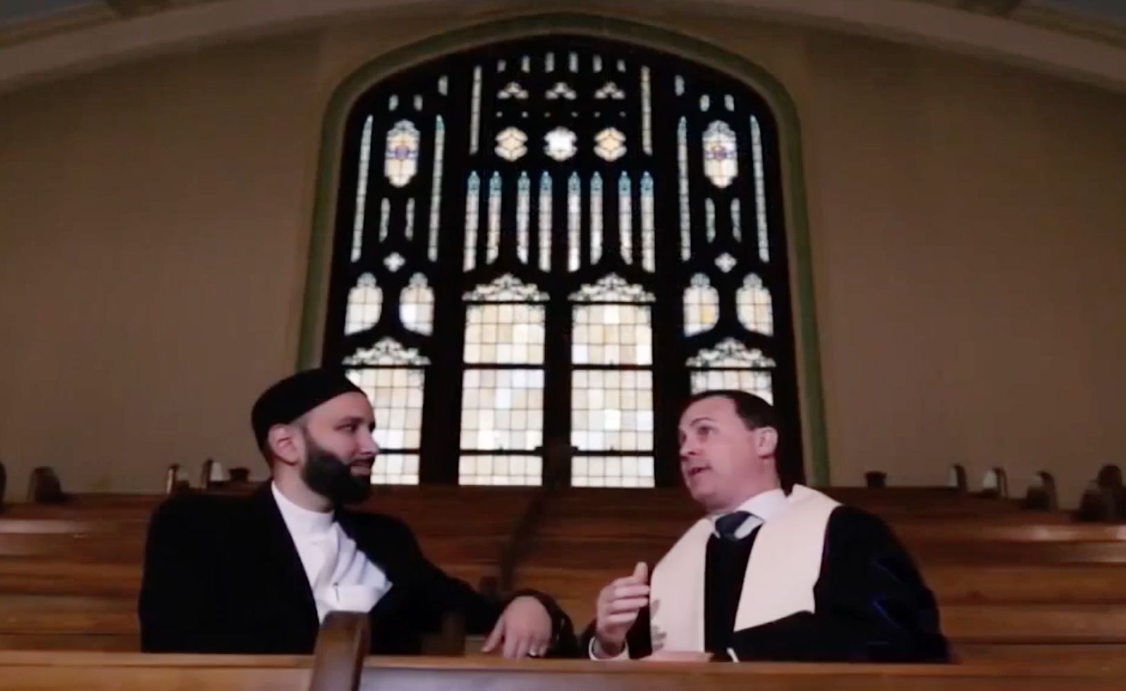Imam Omar Suleiman and the Rev. Andy Stoker of First United Methodist Church.
