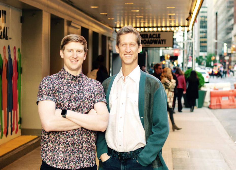 """Travis Waldschmidt of Coppell High School and Southern Methodist University and Houston native Kevin Bernard perform in """"Groundhog Day: the Musical"""" on Broadway"""