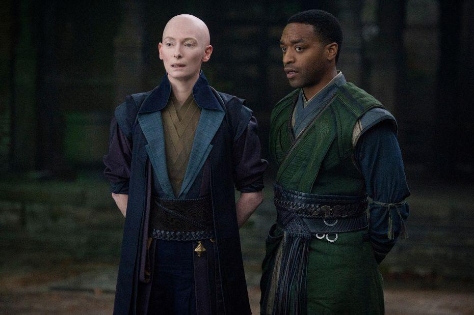 """Tilda Swinton, left, and Chiwetel Ejiofor in a scene from Marvel's """"Doctor Strange."""""""