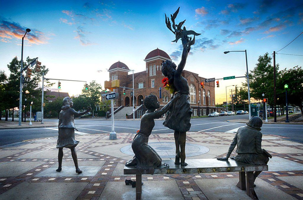 The Four Spirits sculpture in Birmingham's Civil Rights District honors the four young victims of the 16th Street Baptist Church bombing. On Sept. 15, 1963, a bomb placed by a Ku Klux Klan member exploded before Sunday services, killing four girls — Addie Mae Collins, Carole Robertson and Cynthia Wesley, all 14, and 11-year-old Denise McNair.