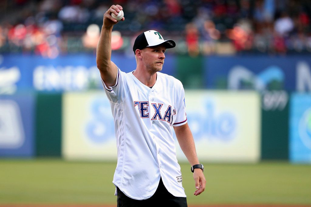 ARLINGTON, TEXAS - JULY 17: Corey Perry of the Dallas Stars prepares to throw out the ceremonial first pitch before the Texas Rangers take on the Arizona Diamondbacks at Globe Life Park in Arlington on July 17, 2019 in Arlington, Texas. (Photo by Tom Pennington/Getty Images)