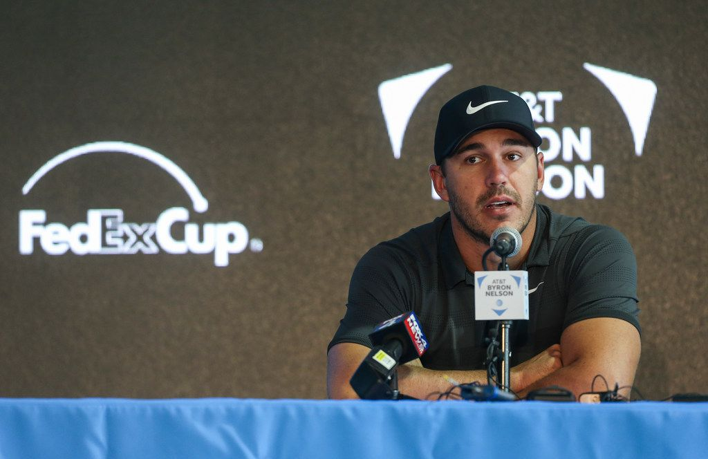 Golfer Brooks Koepka speaks during a media conference on Tuesday, May 7, 2019, ahead of the start of the AT&T Byron Nelson, at Trinity Forest Golf Club in Dallas. (Ryan Michalesko/The Dallas Morning News)