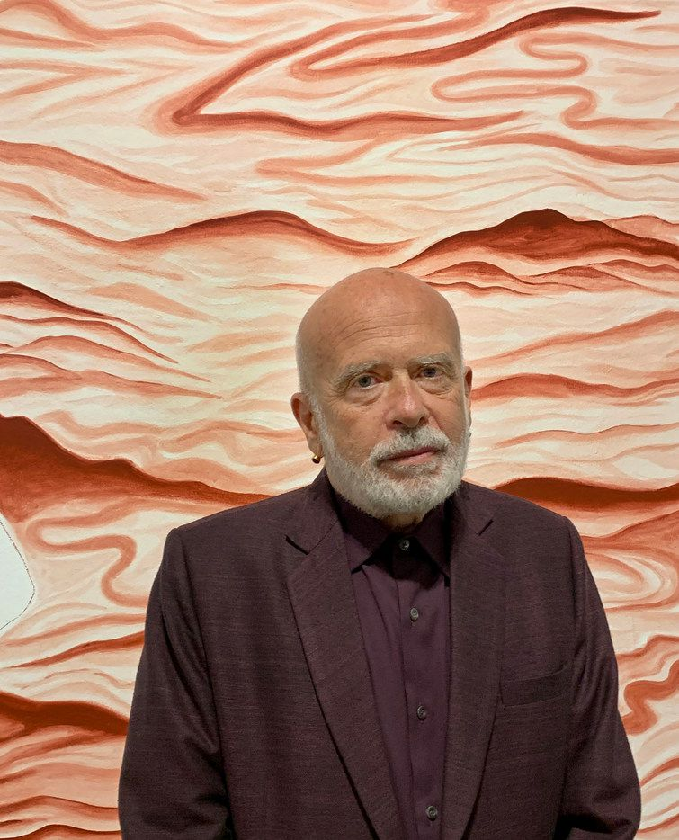 Artist Francesco Clemente photographed at the opening of his exhibition 'Watchtowers, Keys, Threads, Gates' at Dallas Contemporary