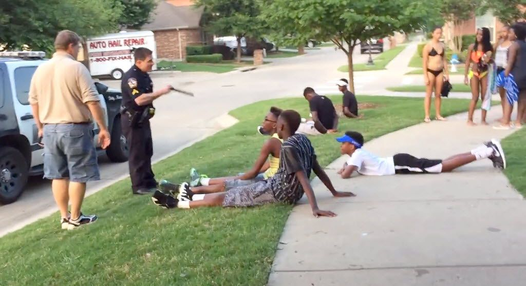 McKinney police officer Eric Casebolt talks to black teens he told to sit as two others sit further away already handcuffed. Corporal Eric Casebolt has been placed on administrative leave by the McKinney, Texas, police department after a video surfaced that raises questions about his actions during an incident at a public pool. Casebolt and other officers responded to the pool on June 5 for a report of a disturbance involving multiple juveniles who were not permitted to be there and were refusing to leave, police said.  06082015xNEWS
