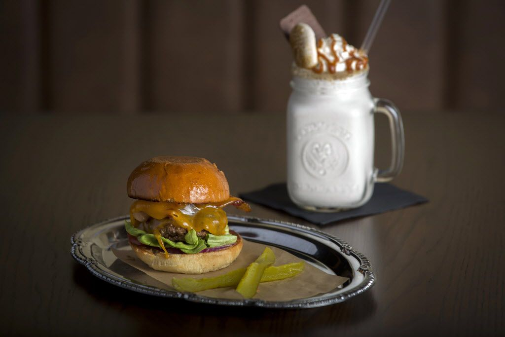 The Royale burger and a vanilla shake at The Royale Magnificent Burgers Thursday, February 18, 2016 in Plano, Texas. (G.J. McCarthy/The Dallas Morning News)