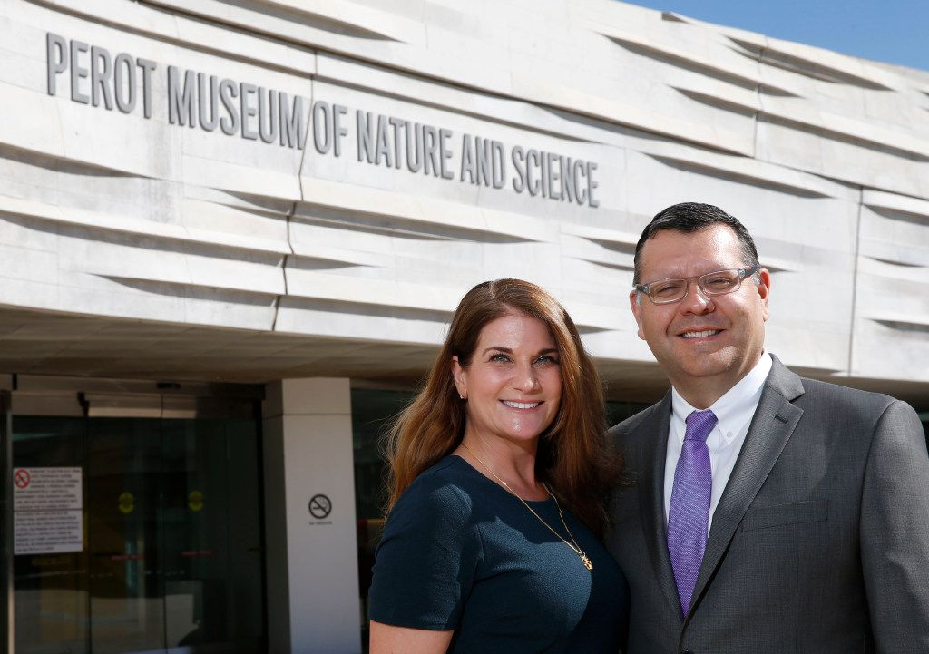 """Abraham-Silver, with Saenz on Wednesday, said she is """"incredibly honored"""" to be be the museum's new CEO.  (Vernon Bryant/Staff Photographer)"""