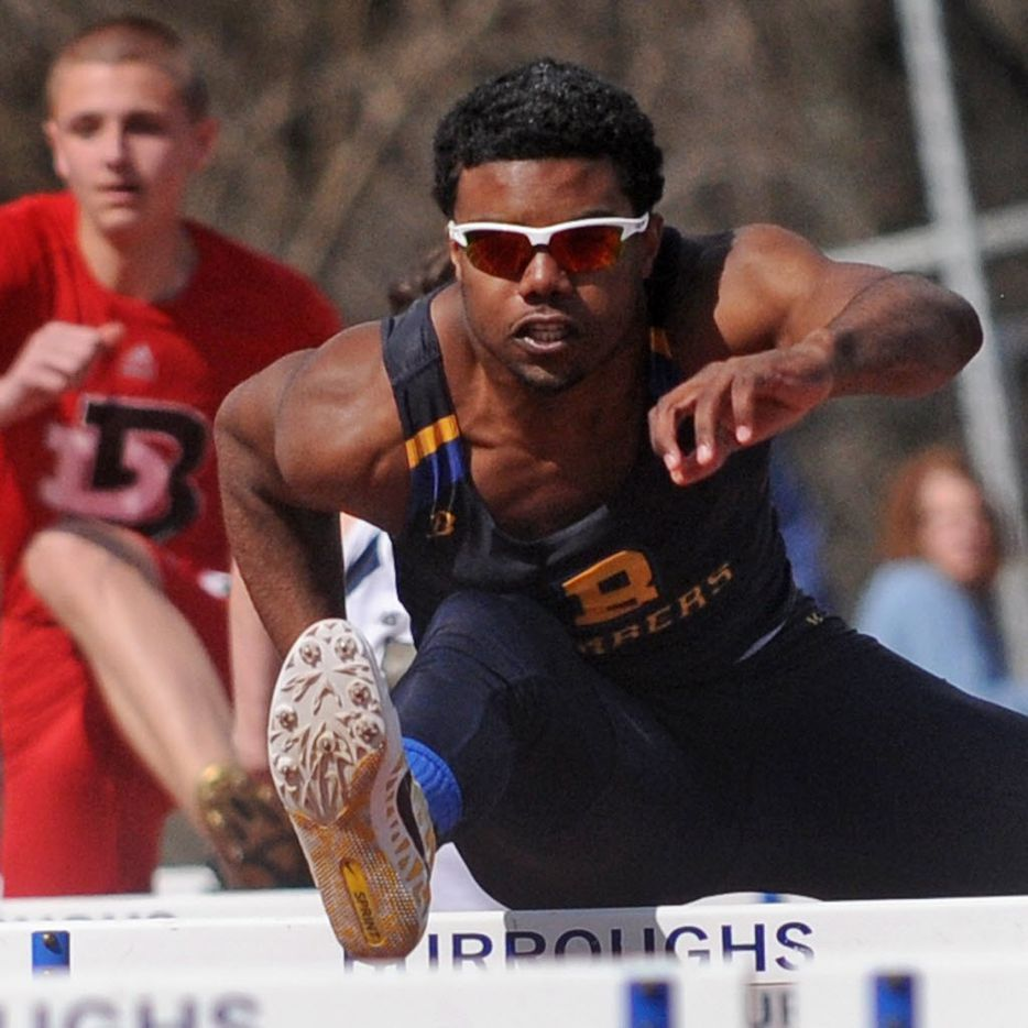 Ezekiel Elliott, John Burroughs, won the 110 meter hurdles at the Skippy Keefer Invitational on Saturday, Apr. 6, 2013 at John Burroughs High School. (Andrew Jansen/ STLhighschoolsports.com)