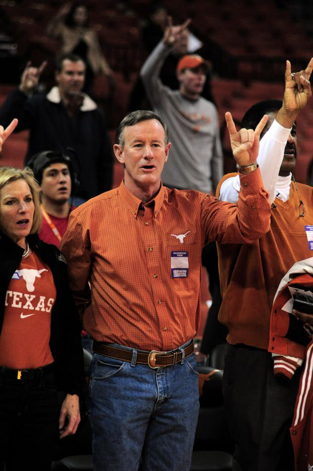Georgeann and Bill McRaven take in in a University of Texas women's basketball  (Icon Sportswire via AP Images)