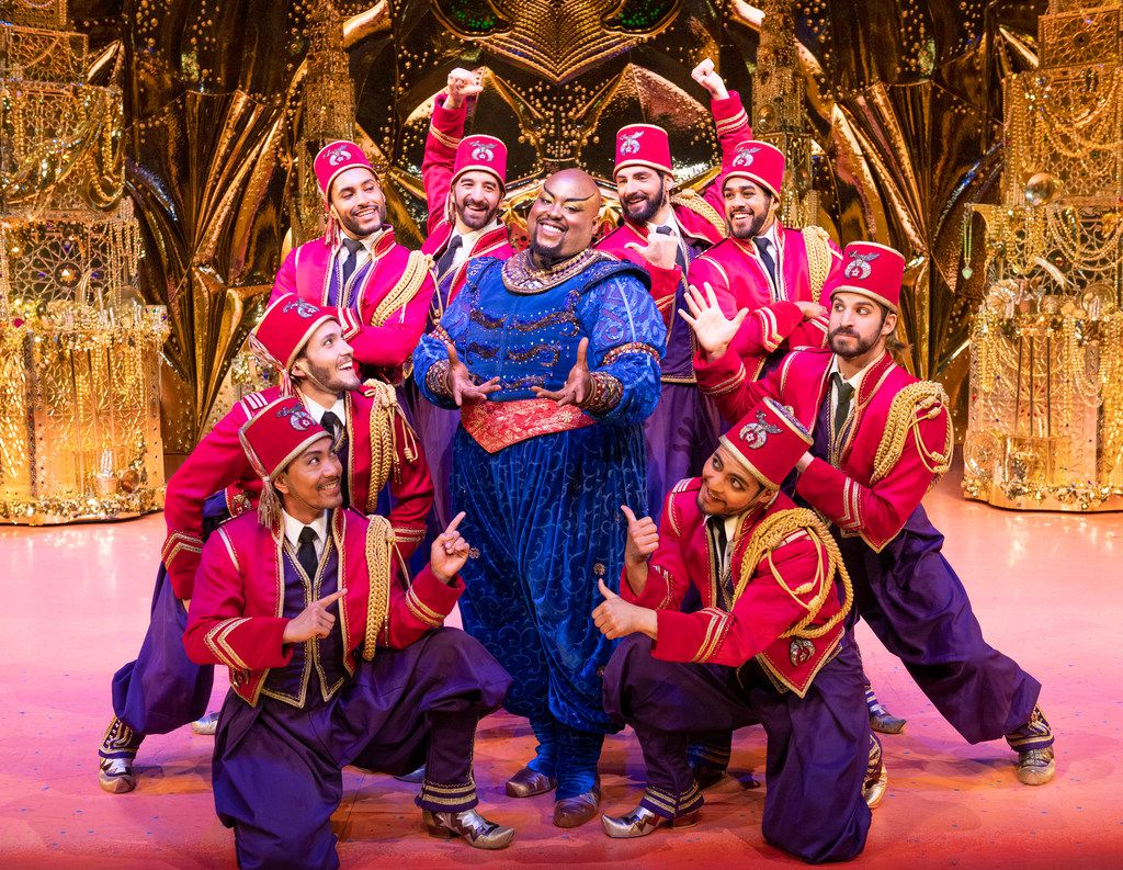 Major Attaway plays the Genie in Aladdin in the Dallas Summer Musicals production being staged at the Music Hall at Fair Park this month.