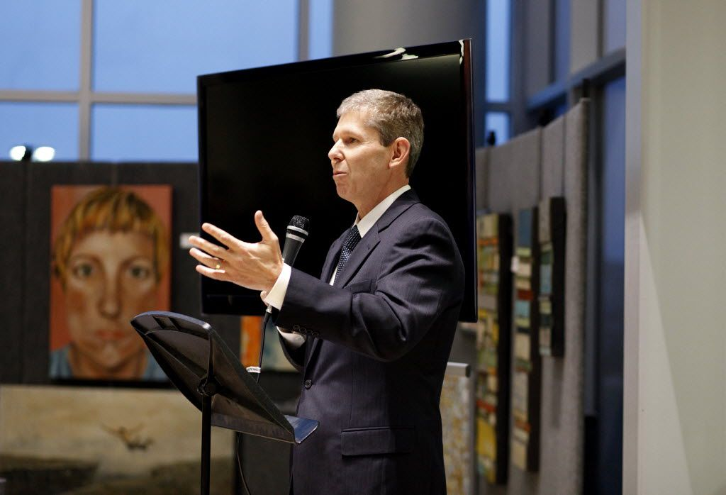 Frisco superintendent Jeremy Lyon addresses the crowd during a reception to honor current and former members of the Frisco Board of Trustees at the Frisco ISD Administration Building in Frisco, Texas, Monday, Jan. 12, 2015. (Anja Schlein/Special Contributor)
