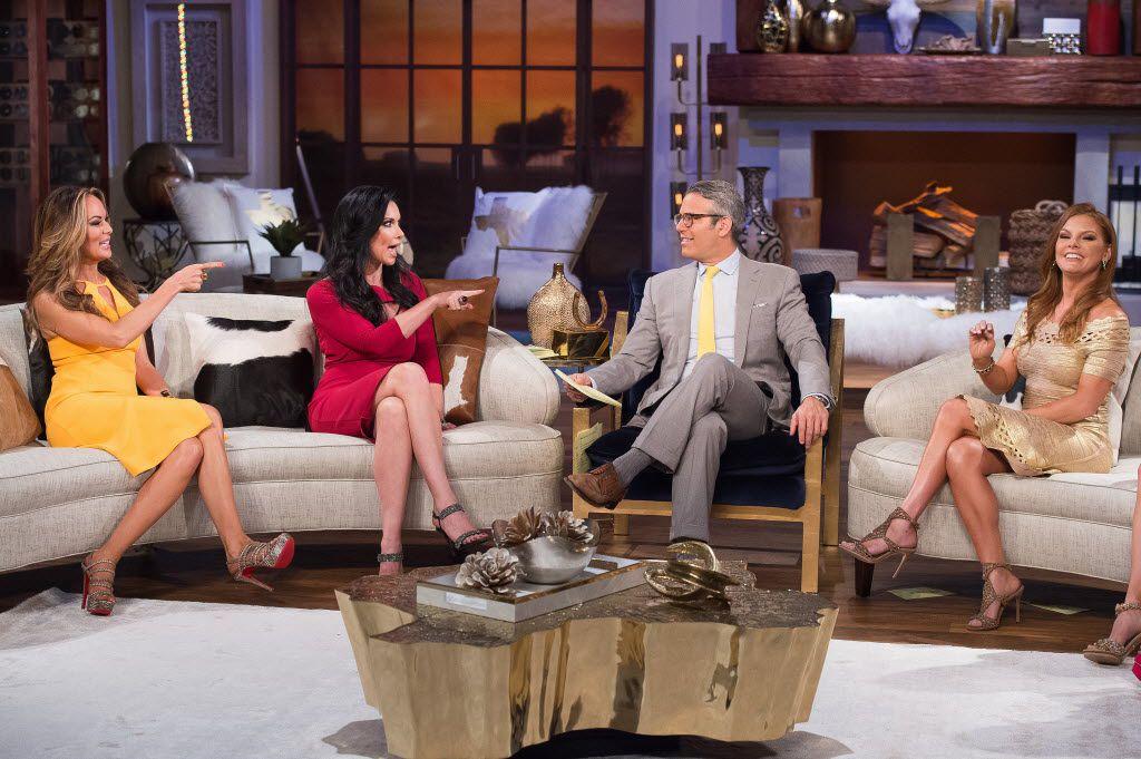 """The Real Housewives of Dallas"" reunion: (l-r) Tiffany Hendra, LeAnn Locken, Andy Cohen, Brandi Redmond"