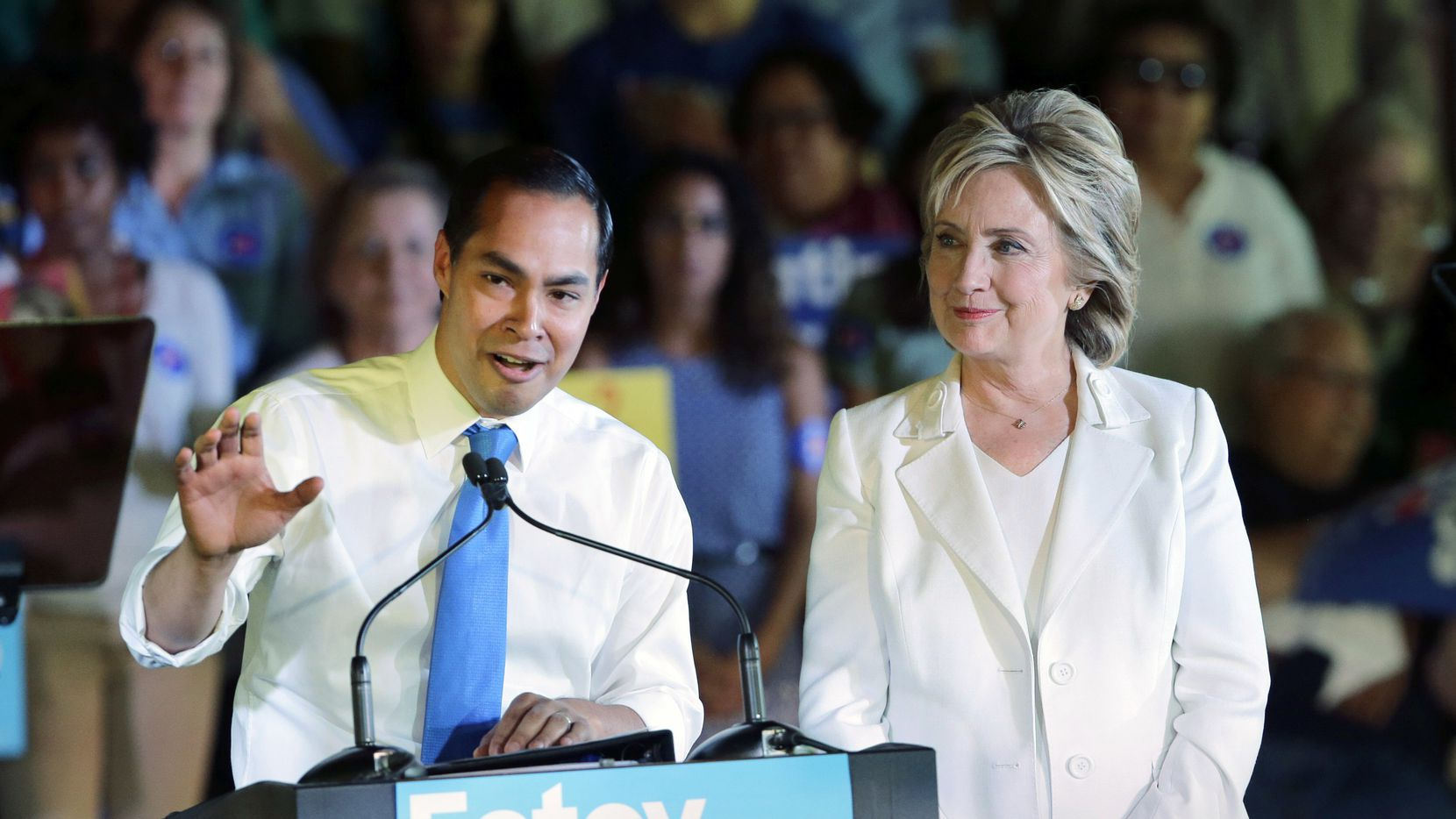 Housing and Urban Development Secretary Julian Castro campaigned for Democratic presidential candidate Hillary Clinton in San Antonio during the 2016 election.