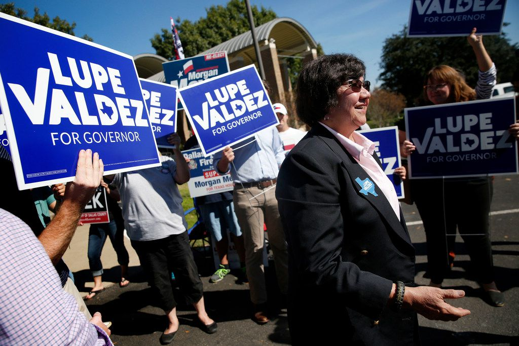 Democratic candidate for governor Lupe Valdez speaks to the media before casting her ballot during early voting at Our Redeemer Lutheran Church in Dallas on Monday, Oct. 29, 2018. (Rose Baca/The Dallas Morning News)