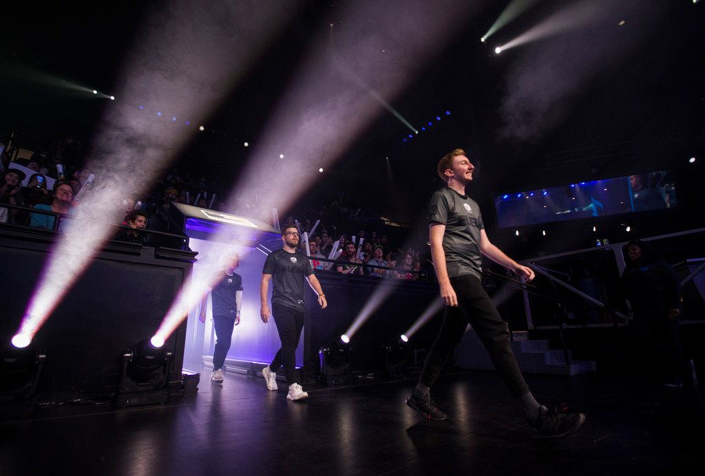Dallas Fuel players enter the arena before an Overwatch League match against the San Francisco Shock on Sunday, August 11, 2019 at Blizzard Arena in Burbank, California. (Ashley Landis/The Dallas Morning News)