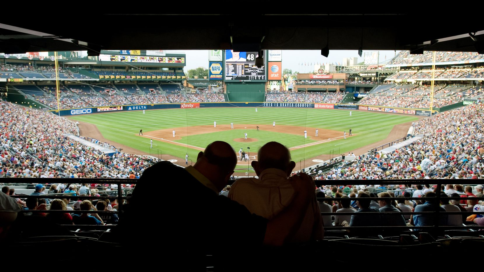 Dallas Morning News Texas Rangers beat writer Evan Grant, left, took his father, Sheldon Grant, 87-years-old, to a Atlanta Braves game Friday (6/17/11) in Atlanta as the Braves played the Texas Rangers. (Joey Ivansco/Special Contributor)
