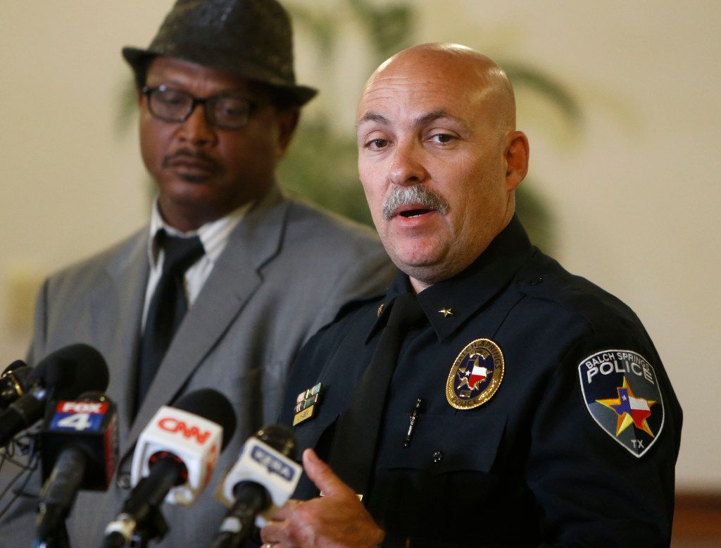 Balch Springs Police Chief Jonathan Haber speaks during a press conference following the death of 15-year-old Jordan Edwards, at the Balch Springs Library in Balch Springs, Texas, Tuesday, May 2, 2017. The Balch Springs Police in suburban Dallas fired Roy Oliver on Tuesday, who shot and killed Edwards, riding in a vehicle leaving a chaotic house party, taking the swift action sought by the teenager's family and protesters who link the case to other deaths of African-Americans at the hands of law enforcement. (Rose Baca/The Dallas Morning News via AP)