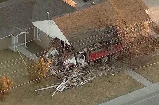 A dump truck plowed into a business Tuesday morning on West University Drive in McKinney. The driver was taken to a nearby hospital.