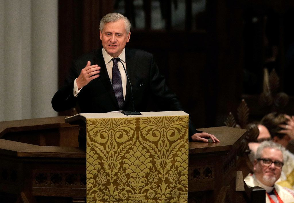Jon Meacham speaks during a funeral service for former first lady Barbara Bush at St. Martin's Episcopal Church in Houston on April 21, 2018. Bush, wife of former president George H. W. Bush and mother of former president George W. Bush, died at her home in Houston on April 17 at the age of 92.