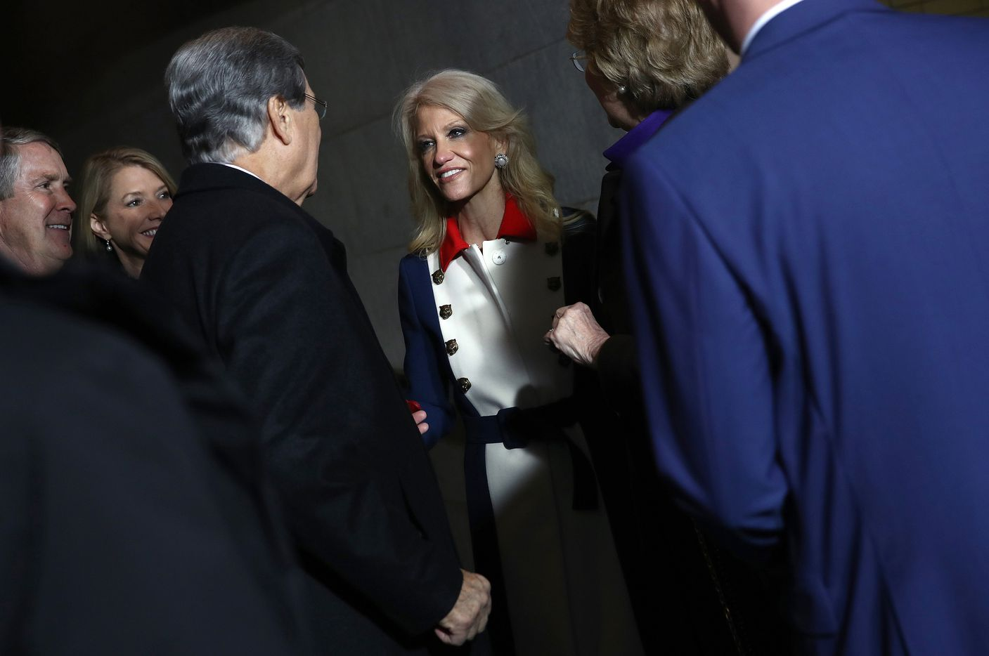 Kellyanne Conway, senior adviser to U.S. President-elect Donald Trump, center, arrives for the 58th presidential inauguration.