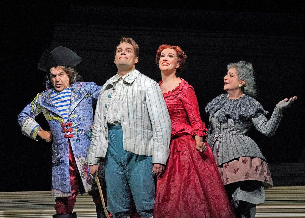 Richard Troxell, Alek Shrader, Brenda Rae and Helene Schneiderman in Santa Fe Opera's Candide. (Photo by Ken Howard)