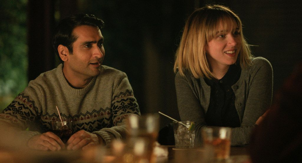 "Kumail Nanjiani, left, and Zoe Kazan in a scene from, ""The Big Sick."""