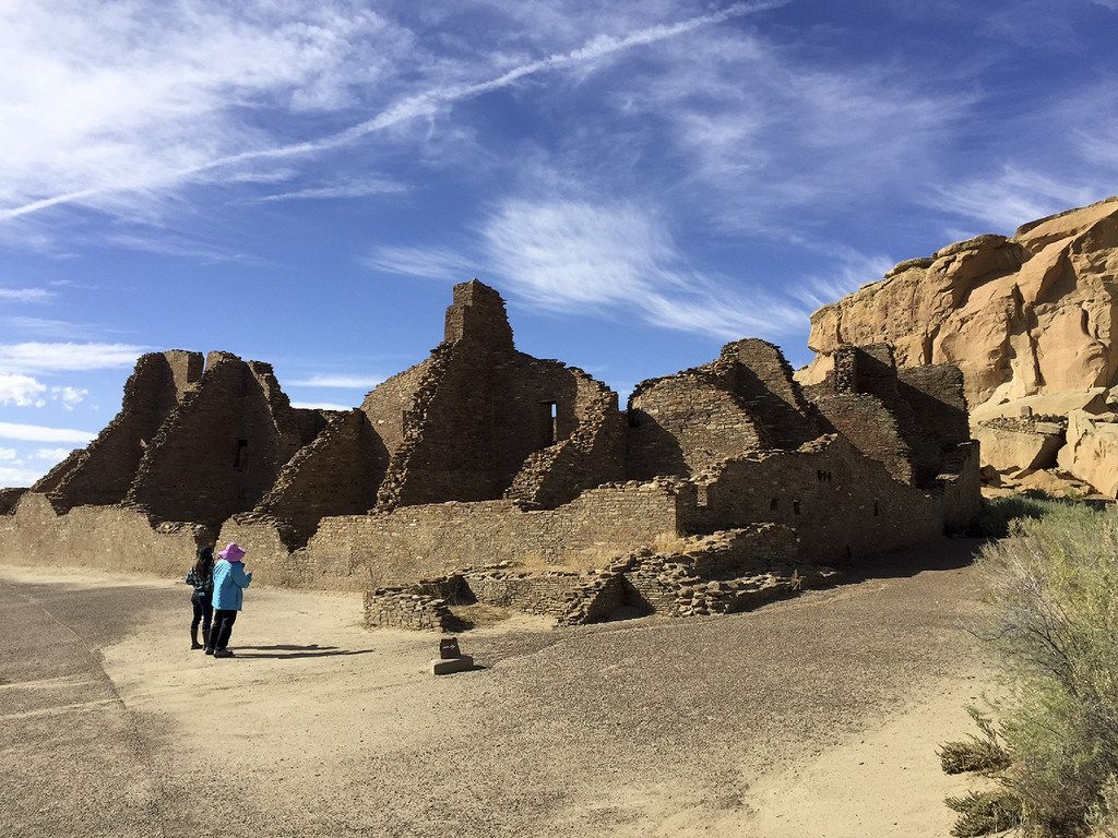 Pueblo Bonito is a great house comprised of many rooms in Chaco Canyon, New Mexico.