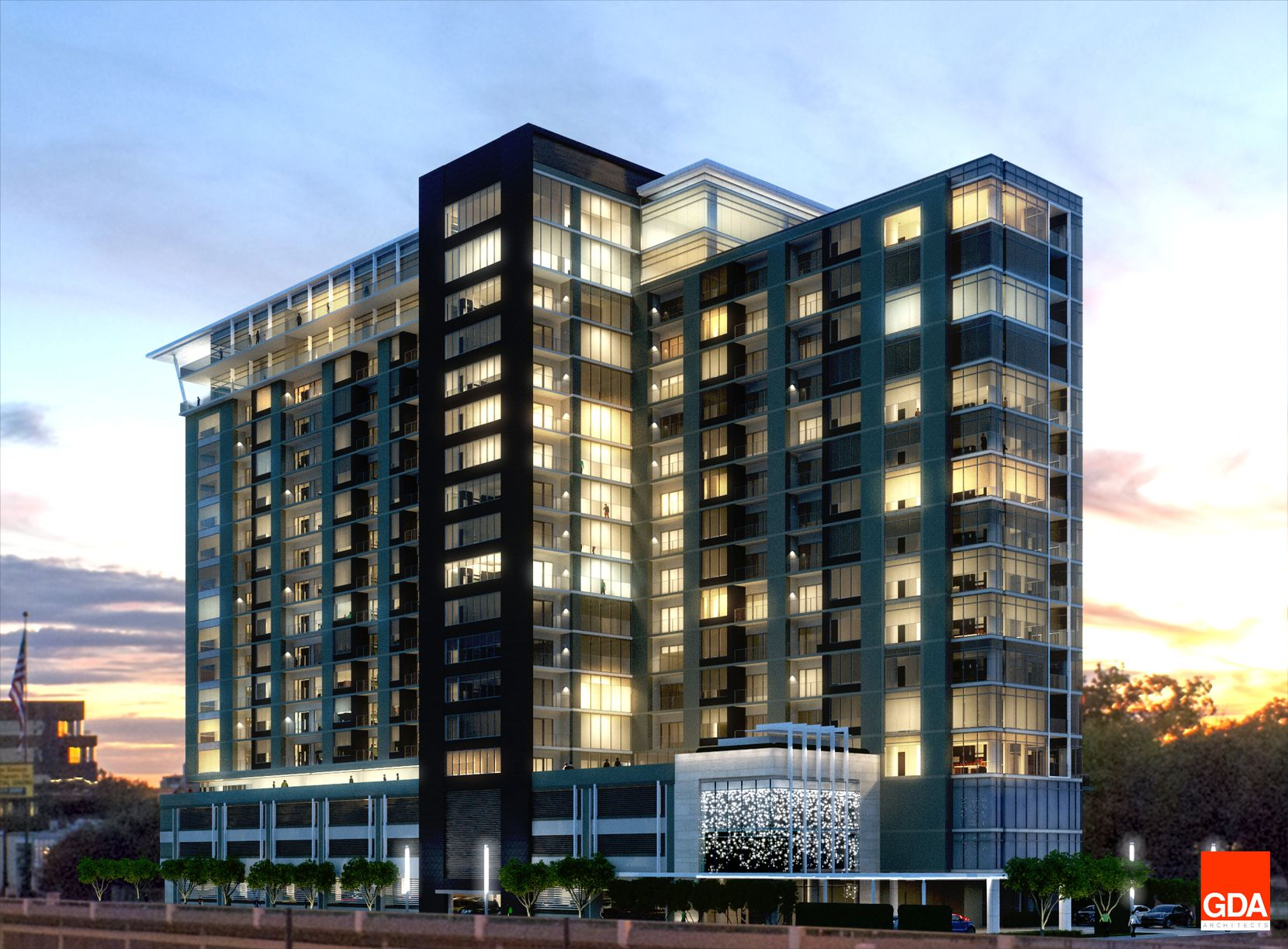 The 19-story Nove at Knox apartments will open next year.