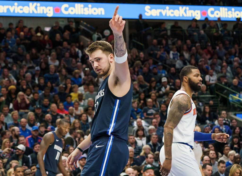 Dallas Mavericks guard Luka Doncic acknowledges picking up a foul during the first half of an NBA basketball game at American Airlines Center on Friday, Nov. 8, 2019, in Dallas. (Smiley N. Pool/The Dallas Morning News)