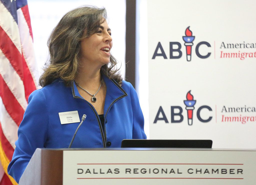 Hilda Galvan spoke at a business-sponsored panel to get bipartisan support for legislation to legalize young immigrants known as Dreamers at the Dallas Regional Chamber in downtown Dallas in November.