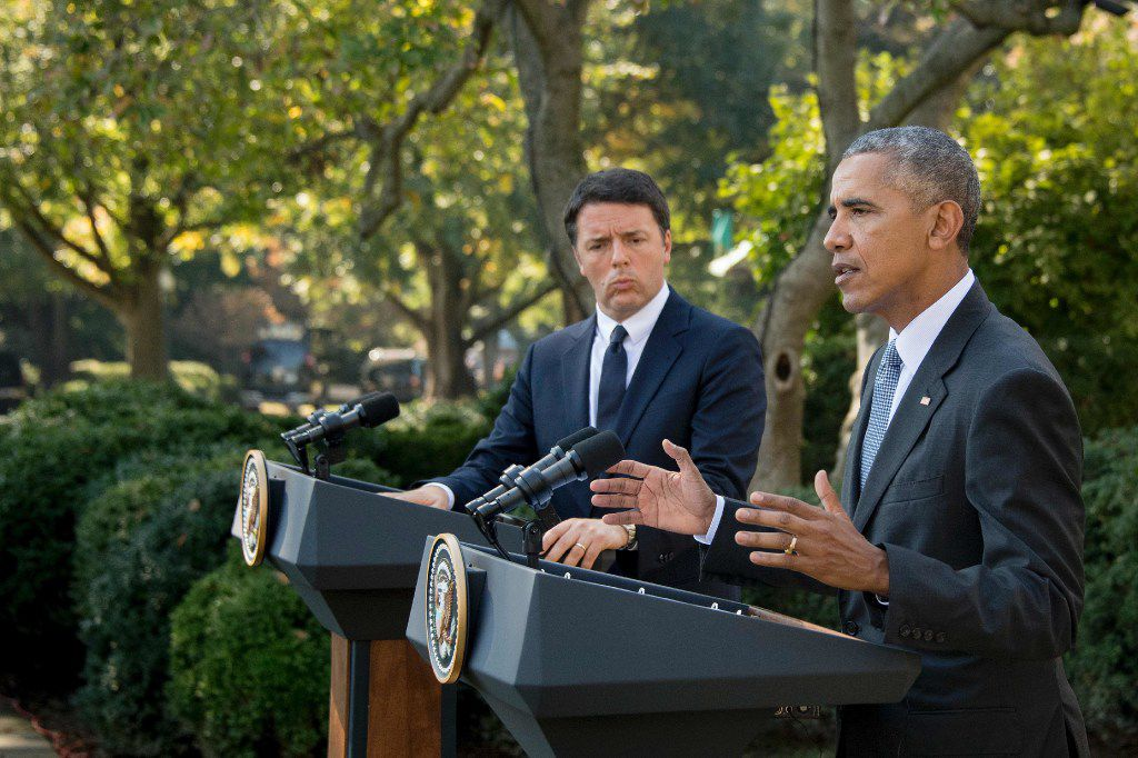 "President Barack Obama, with Italian Prime Minister Matteo Renzi at a joint news conference in the Rose Garden on Tuesday, invited Donald Trump to ""stop whining and go make his case"" to voters."