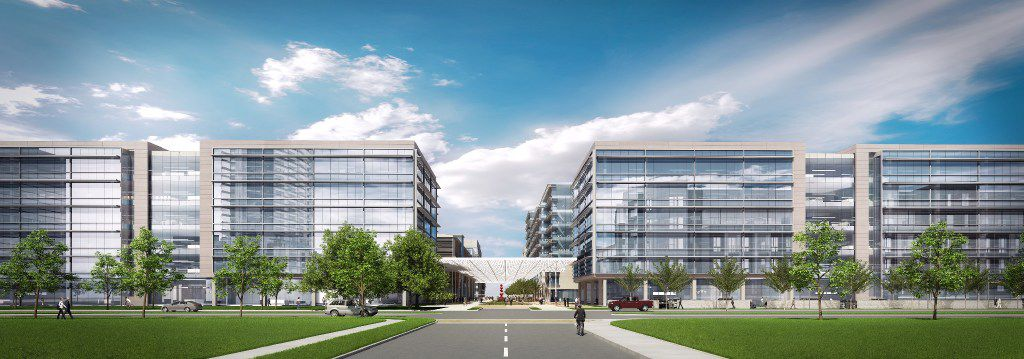 Banking and financial services giant J.P. Morgan Chase is building a 1.2 million-square-foot, 49-acre campus in West Plano s Legacy West Development, shown here in an artist's rendering.