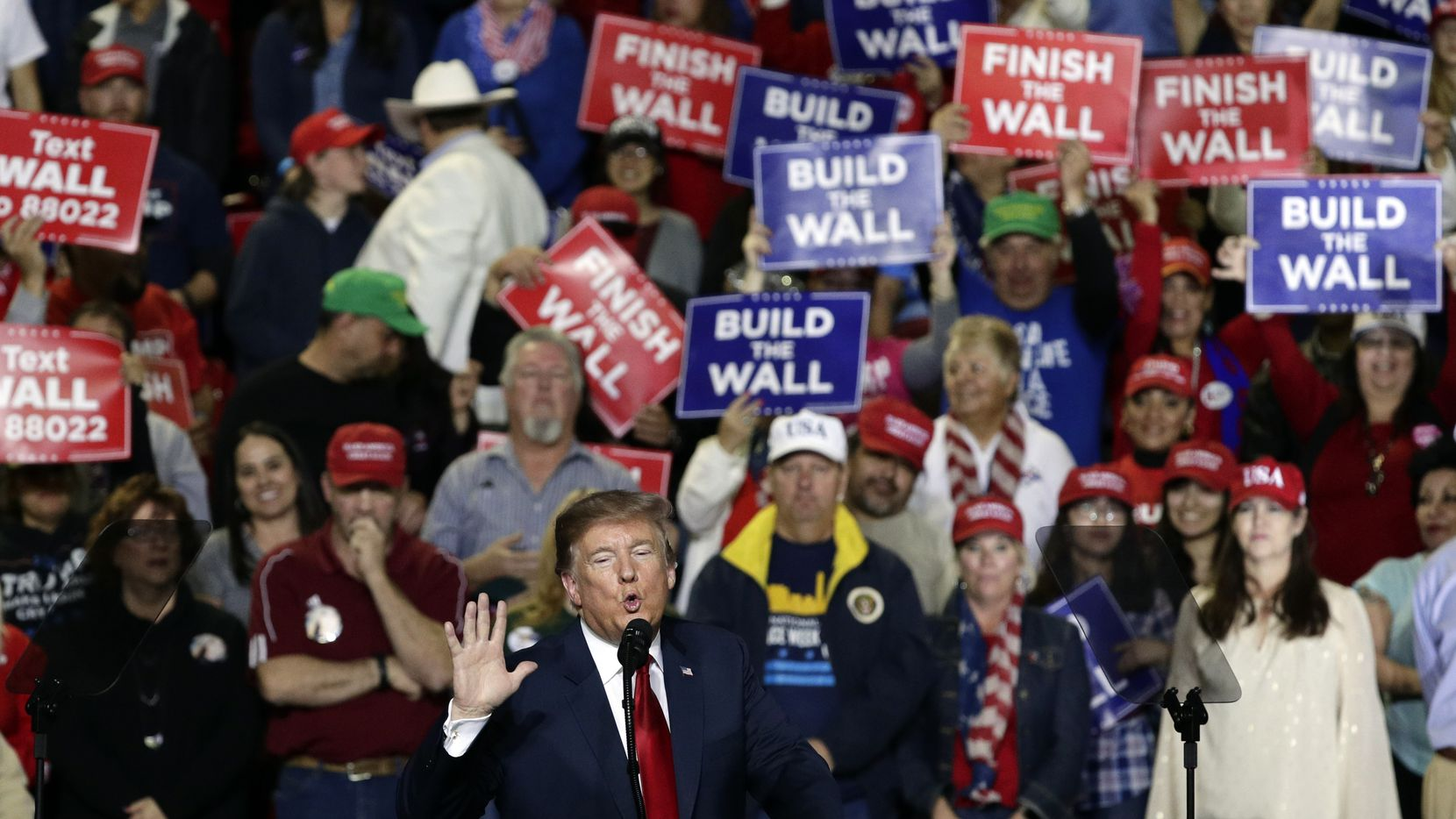 President Donald Trump speaks during a rally at the El Paso County Coliseum, Monday, Feb. 11, 2019, in El Paso, Texas.