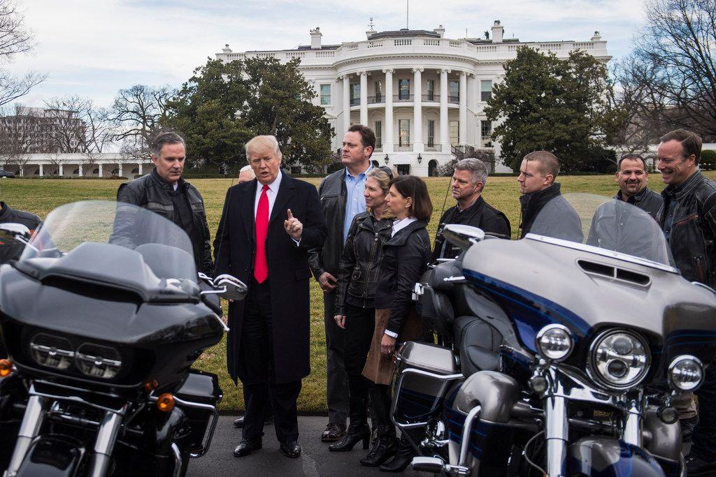 President Donald Trump meets with Harley Davidson executives and Union Representatives on the South Lawn of the White House in Washington on Feb. 2, 2017. MUST CREDIT: Washington Post photo by Jabin Botsford