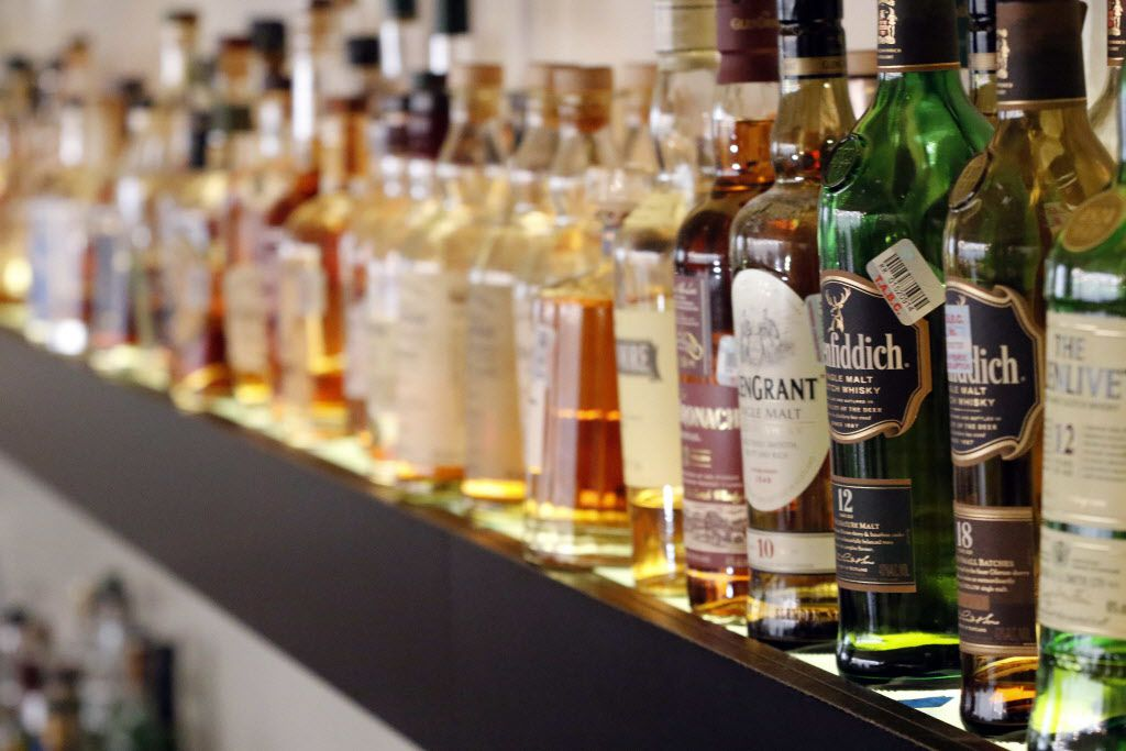 There is a selection of over 200 specialty whiskeys at the bar in the Second Floor Restaurant in Dallas.