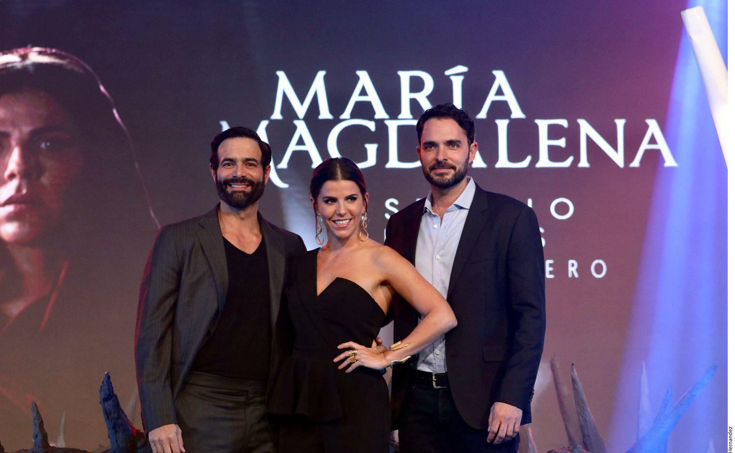Luis Roberto Guzmán, María Fernanda Yepes y Manolo Cardona protagonizan la bioserie de María Magdalena./ AGENCIA REFORMA